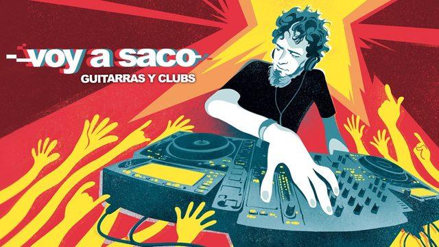 Cartel del documental Voy A Saco, Guitarras y Clubs, diseñado por el ilustrador Danide y firmado por Dj Amable + visionado del documental online