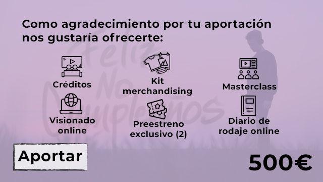 CRÉDITOS + VISIONADO + DIARIO DE RODAJE + MASTERCLASS (MAKING OFF DOCU) + PREESTRENO EXCLUSIVO (2) + KIT MERCHANDISING (MASCARILLA - CAMISETA - POSTER DEDICADO)