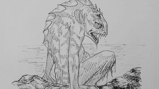 """Deep ones – """"Brillante y resbaladizo, la espina dorsal escamosa. Vagamente antropoide, la cabeza de pez, prodigiosos ojos saltones, al lado del cuello agallas palpitantes""""."""