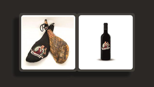 VIVA ESPAÑA. A bottle of El Terrateniente and 150 g of Iberian Ham