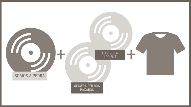 """CD """"SOMOS A PEDRA"""" + 2 CDs anteriores + 1 camiseta"""