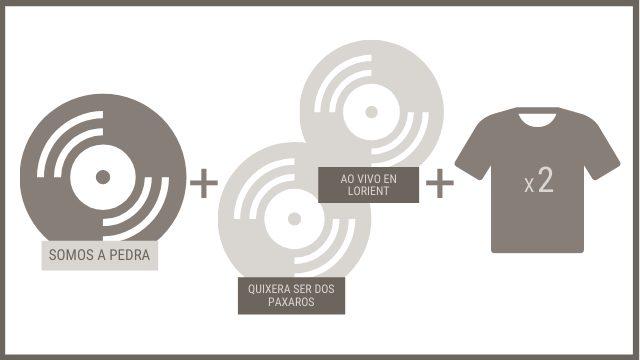 """CD """"SOMOS A PEDRA"""" + 2 CDs anteriores + 2 camisetas"""