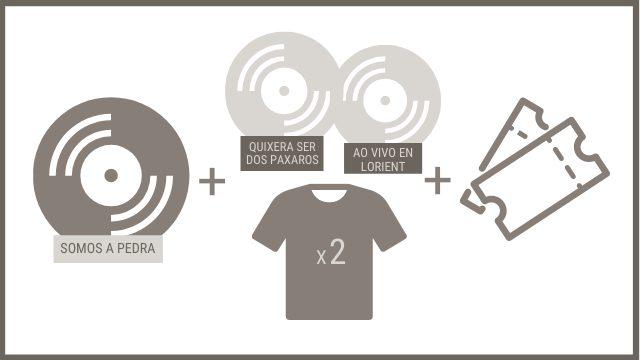 """CD """"SOMOS A PEDRA"""" + 2 CDs anteriores + 2 camisetas + 2 entradas para o concerto de presentación"""