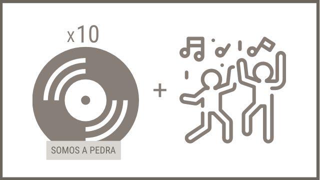 """10 CDs """"SOMOS A PEDRA"""" + concerto privado onde elixas (equipo técnico a cargo do grupo)"""