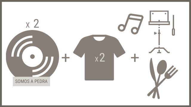 """2 CDs """"SOMOS A PEDRA"""" + 2 camisetas + asistencia a un ensaio para dúas persoas con petiscos ao remate"""