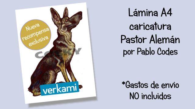 Lámina caricatura Pastor Alemán en A4