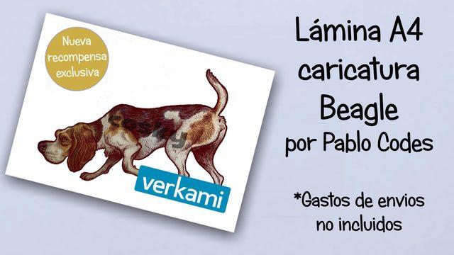 Lámina caricatura Beagle en A4