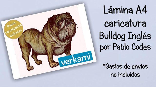 Lámina caricatura Bulldog Inglés en A4