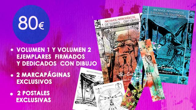Vol. 1 y Vol. 2, firmados y dedicados con dibujo + 2 marcapáginas exclusivos + 2 postales exclusivas.