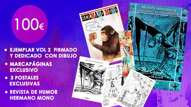"""Vol. 2 firmado y dedicado con dibujo + Marcapáginas exclusivo + 3 Postales exclusivas + Revista """"Hermano Mono""""."""
