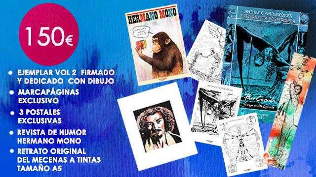 """Vol. 2 firmado y dedicado con dibujo + Marcapáginas exclusivo+ 3 Postales exclusivas+ Revista """"Hermano Mono"""" + Retrato Original del Mecenas"""