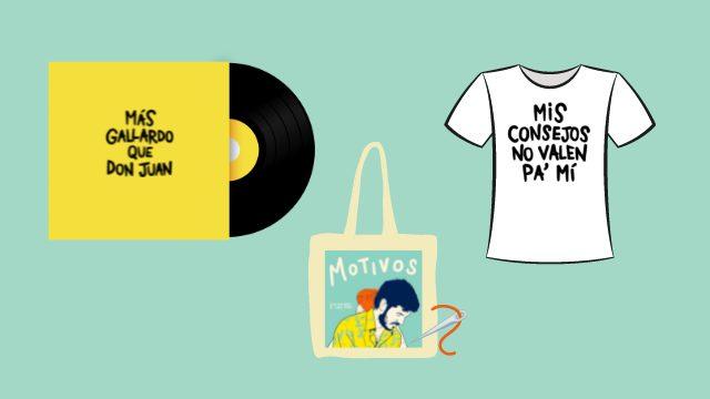 Disco firmado + bolsa de tela bordada + camiseta