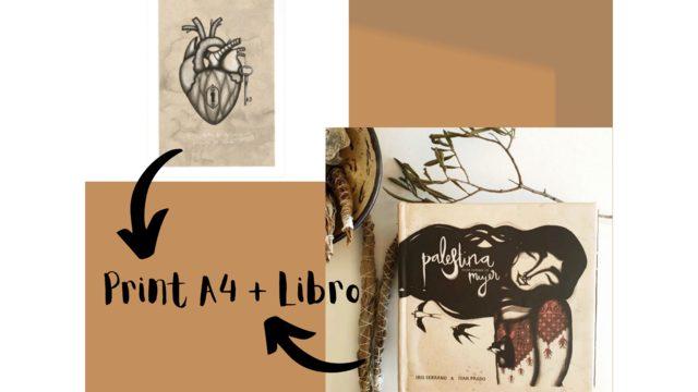 Print A4 'Heart' by Iris Serrano + Book 'Palestine has a woman's name'