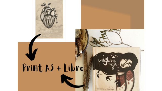 Print A3 'Heart' by Iris Serrano + Book 'Palestine has a woman's name'