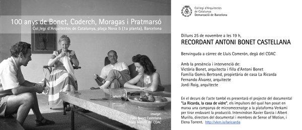 Acte de presentació del projecte documental al COAC (Recordant Antoni Bonet Castellana)