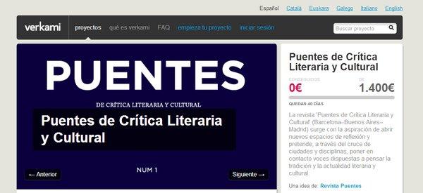Primeros pasos de Puentes, Revista de Crítica Literaria y Cultural.