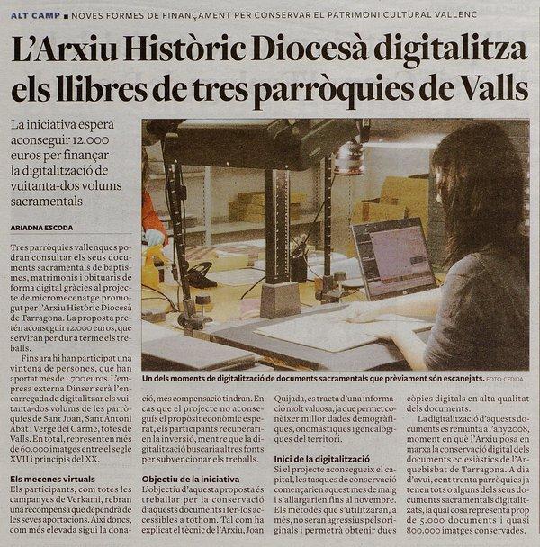 Ressò del micromecenatge per a Digitalitzar els llibres sagramentals de Valls