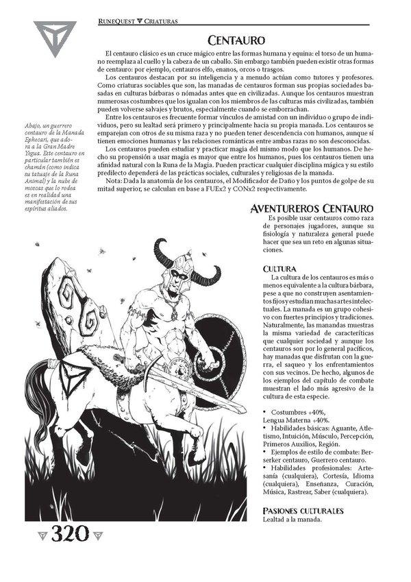 RuneQuest 6: página de ejemplo