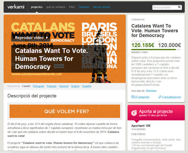 """Catalans want to vote – Human towers for democracy"" recapta 120.000 € i internacionalitzarà el dret a decidir"