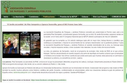 El Jardí amagat, millor llibre en tot l'estat segons l'Associació Espanyola de Parcs i Jardins Públics