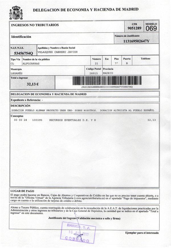 Justificante de la donación de 32,13€ del pueblo alemán Proyecto Über Uns - Sobre Nosotros. Donación altruista al Pueblo Español