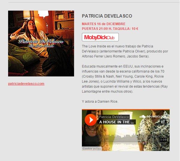 CONCIERTO PRESENTACIÓN EN MADRID - 16 de DICIEMBRE (MOBY DICK - Avda. de Brasil 5 - 28020 Madrid)) - 9.30 de la noche