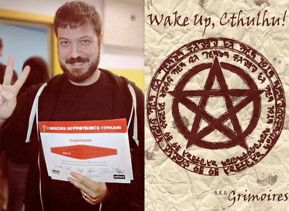 Miquel Bruque con el diploma de Ganador del I Concurso de Protojuegos Verkami