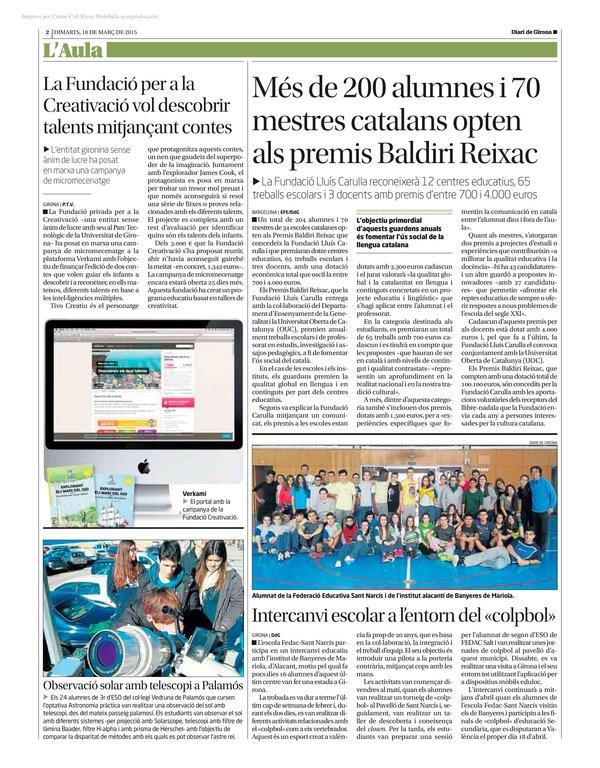 El Diari de Girona nos publica