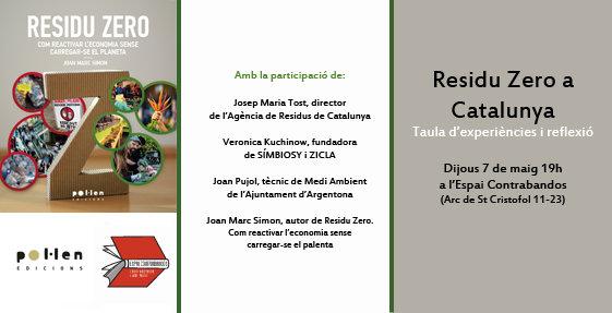 Una taula d'experiències Residu Zero a Catalunya i més presentacions la setmana vinent
