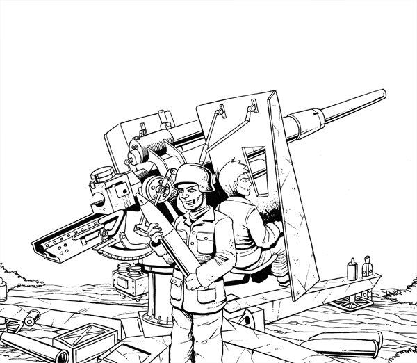 Boceto cañón antiaéreo Flak36 de 88mm