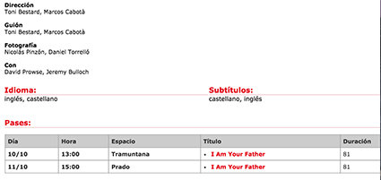 """I am your father"" en Sitges"