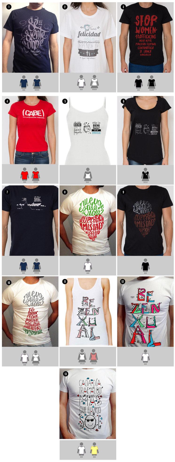 Tallado de camisetas Awwa art según modelos — Awwa Art dec309a78611b