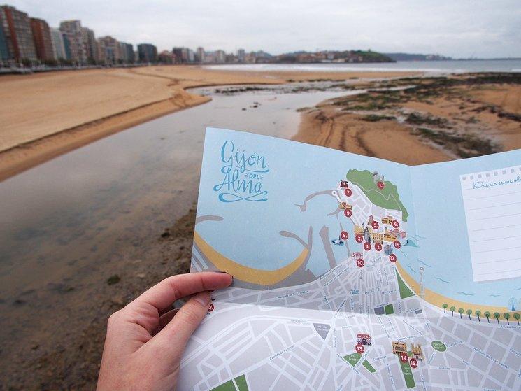 El mapa incluido en el libro Gijón del Alma. vía instagram @gijon.del.alma