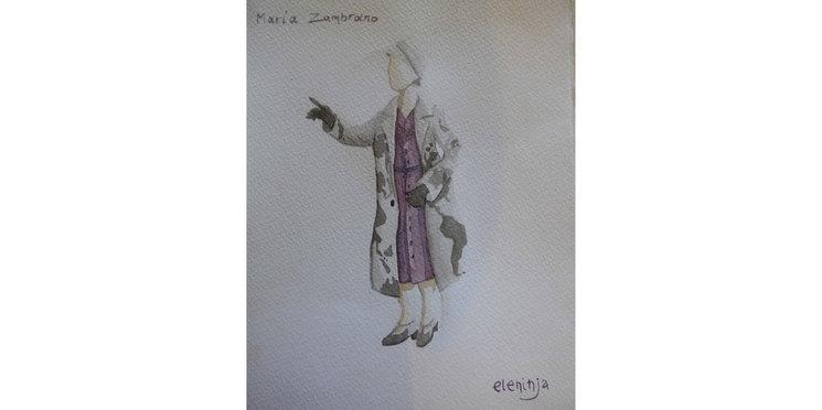 Ilustración original figurín María Zambrano