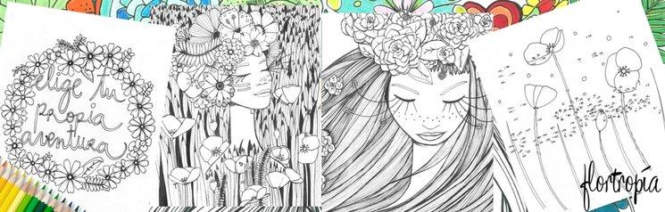 Flortropía : Pasatiempos ilustrados para colorear y florecer — Verkami