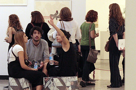 Participating artists and public at the main exhibition space during the last edition.