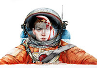 "Julio Serrano, ""Rocket to the moon"". Obra gráfica seriada."