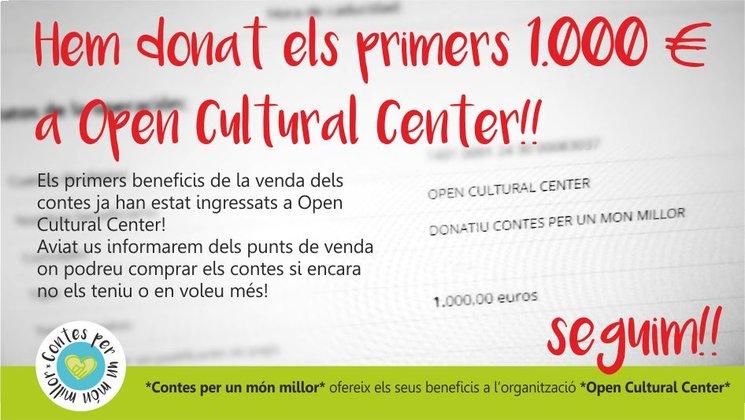 ESTEM CONTENTS! Els primers beneficis de la venda dels contes ja han estat ingressats a Open Cultural Center!!