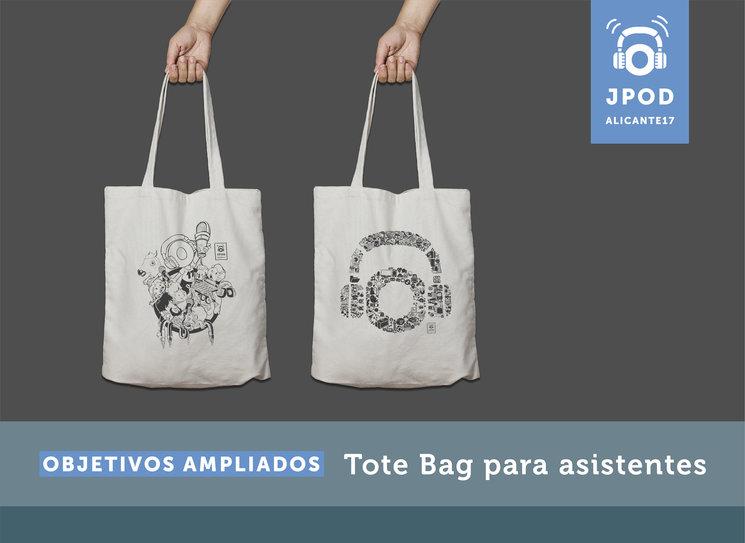 Diseño de las posibles tote bag que entregaremos a los asistentes de las JPOD