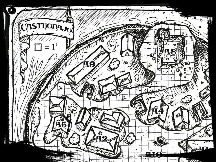 Detalle del plano de Castrobajo, lugar de oscuros secretos