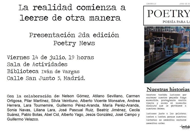 Invitación presentación 2da edición Poetry News