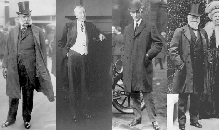 Grandes magnates: JP Morgan, John D. Rockefeller, Henry Ford y Andrew Carnegie