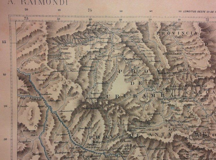 Fragmento del mapa de Antonio Raimondi que ubica Machu Picchu y el valle del río Vilcabamba, con Pucyura y Vilcabamba la Nueva