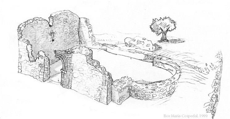 Dibujo del alzado de la iglesia antes de su destrucción en 1989