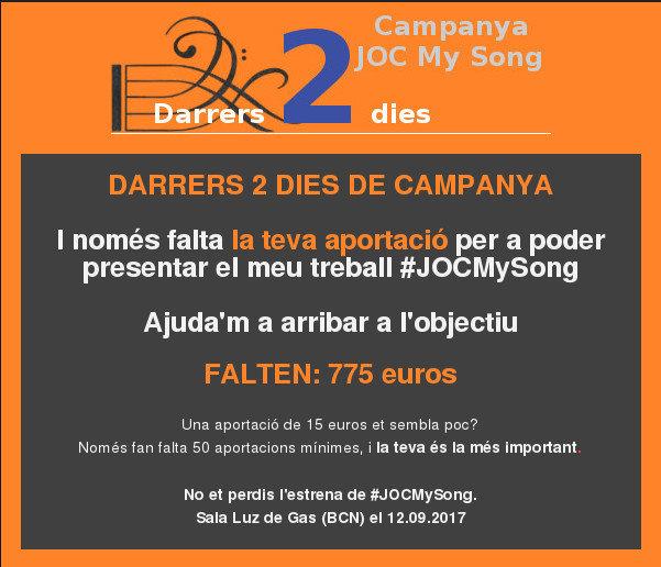 Demà s'acaba la campanya #JOCMySong