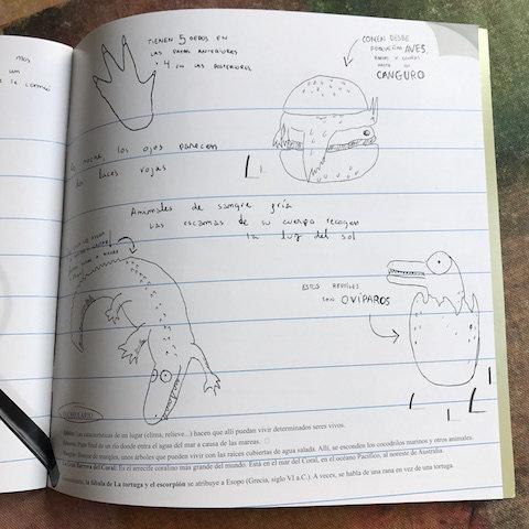 Al final del libro, hay un cuaderno de campo con ilustraciones de Unai