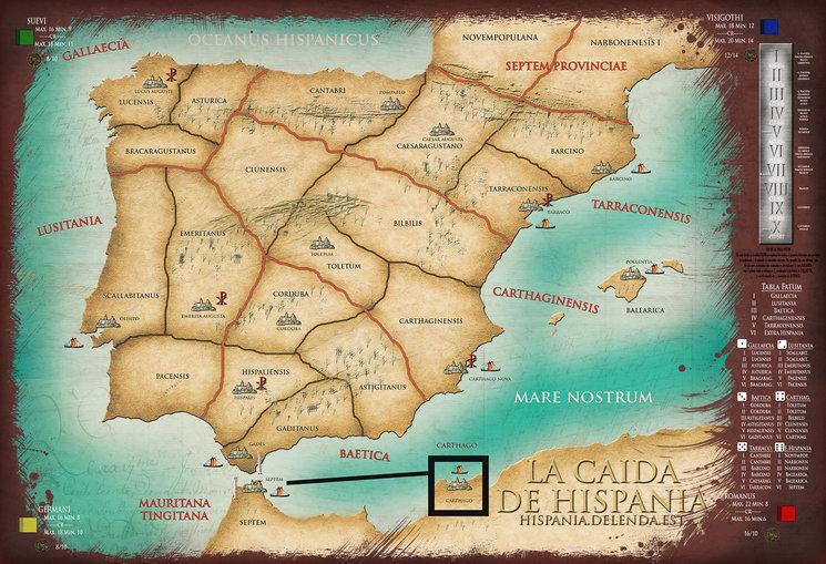 El tablero de juego, dividido en diócesis, provincias y conventus
