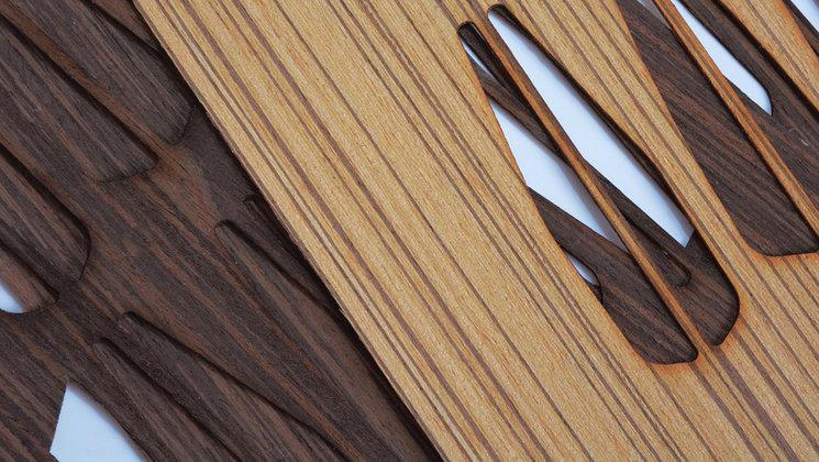 Natural wood veneer cut with laser