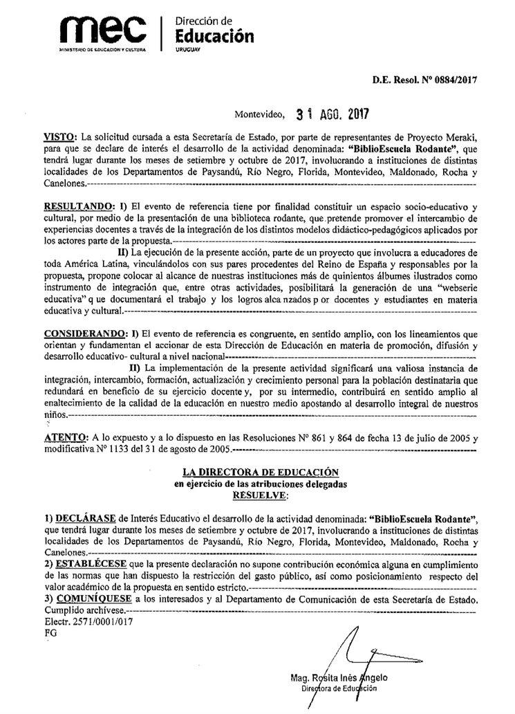 ¨PROYECTO MERAKI BIEN DE INTERÉS EDUCATIVO¨  en URUGUAY.