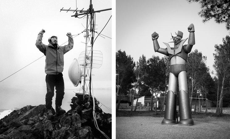 Izq: El científico japonés Jun en la cumbre del monte Reina Sofia. Isla Livingston. Antártida, 2016<br/> Der: Mazinger Z. Urbanización Mas del Plata. Tarragona, 2012